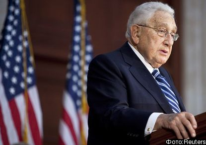Former U.S. Secretary of State Henry Kissinger speaks during a ceremony unveiling a statue of<br /><br /><br />  former U.S. President Gerald Ford in Washington